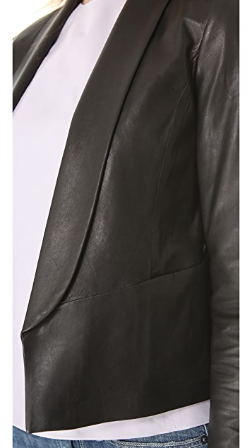 Vince Leather Shawl Collar Jacket