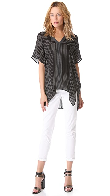 Vince Double V Stripe Blouse