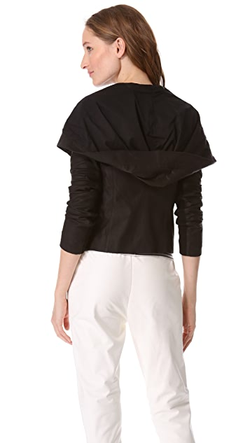 Vince Hooded Leather Crop Jacket