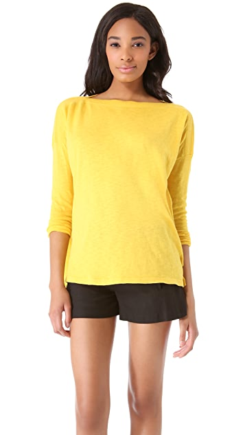 Vince Ribbed Shoulder Slub Sweater