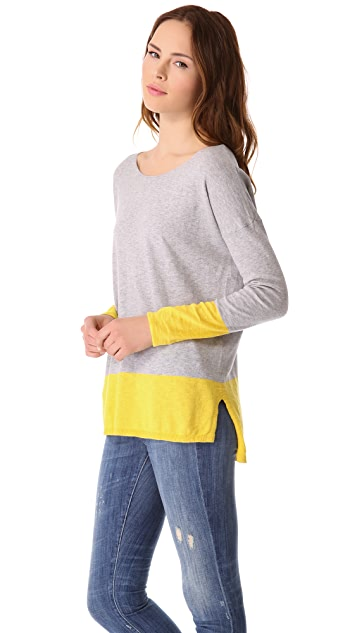 Vince Banded Colorblock Slub Sweater
