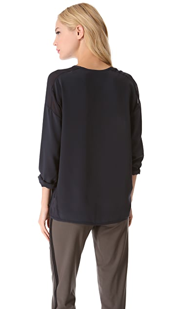 Vince Sheer Trim Silk Blouse