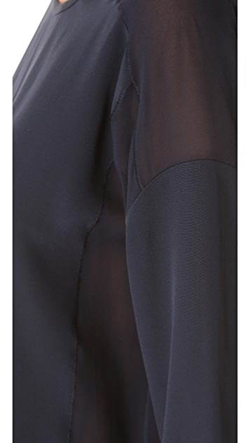 Vince Sheer Trim Silk Blouse