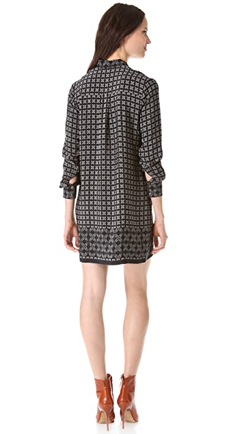 Vince Border Print Shift Dress