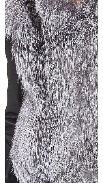 Vince Leather Sleeve Fur Jacket