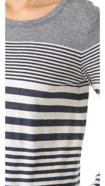 Vince Variegated Stripe Shirttail Tee