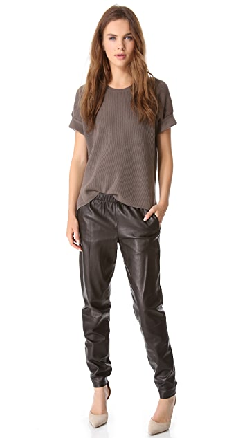 Vince Wrap Seam Leather Pants