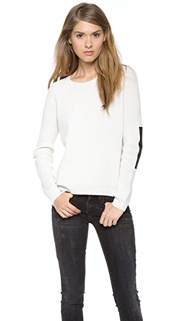Vince Elbow Patch Rib Sweater