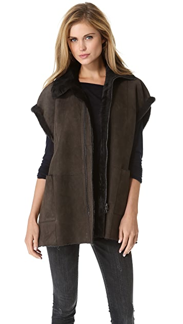 Vince Shearling Poncho
