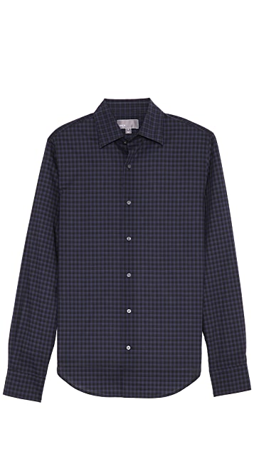 Vince Contrast Plaid Dress Shirt