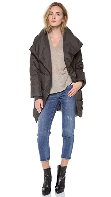 Vince Leather Trimmed Asymmetic Puffer