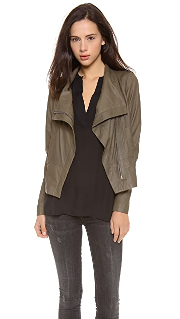 Vince Paper Leather Asymmetric Zip Jacket