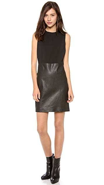 8400098128c Vince Sleeveless Dress with Leather Skirt | SHOPBOP