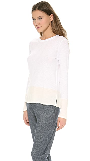Vince Colorblocked Long Sleeve Crew Tee