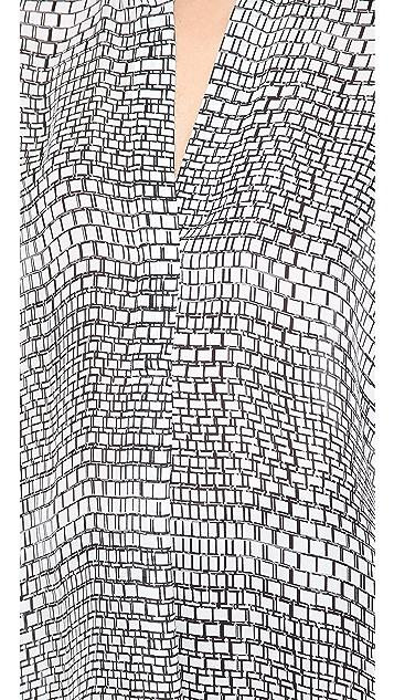 Vince 1/2 Placket Ladder Print Blouse