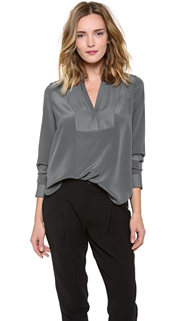 Vince Speed Stitch Tuxedo Blouse