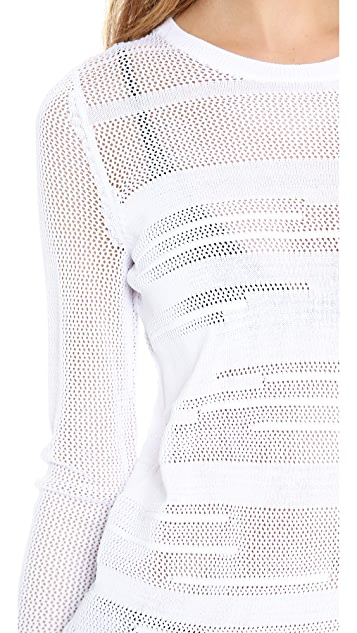 Vince Engineered Mesh Insert Sweater