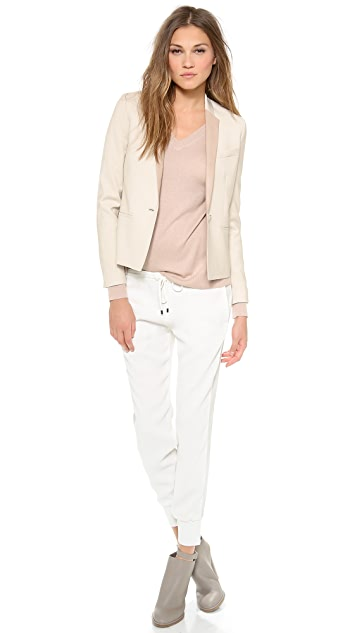 Vince Leather Lapel Blazer