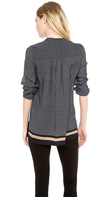 Vince Printed 1/2 Placket Top