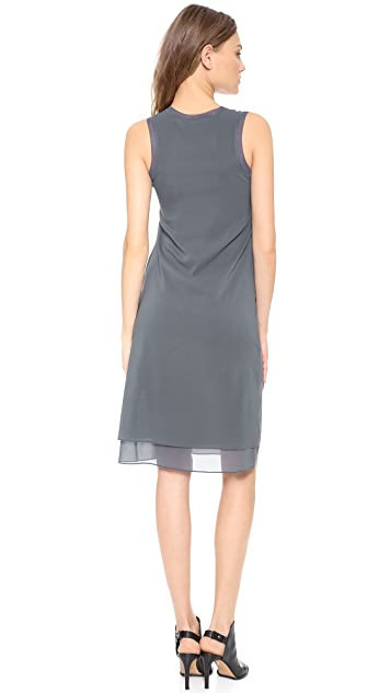 Vince Rib Trim V Neck Dress