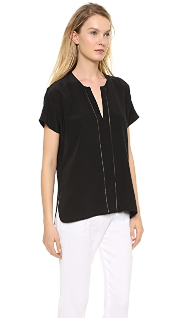 Vince Split Neck Cap Sleeve Top