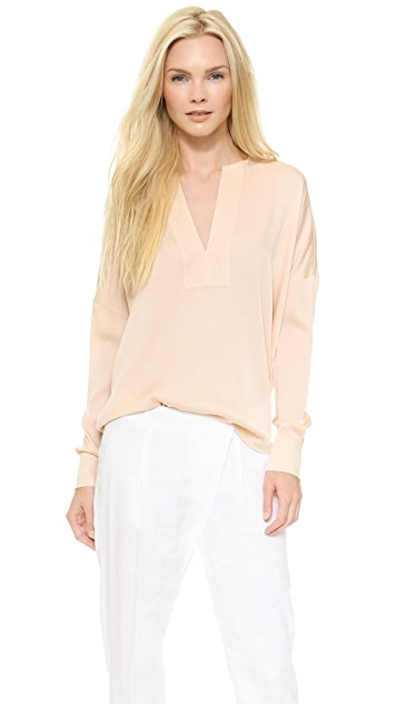 Vince Trapunto Split Neck Blouse