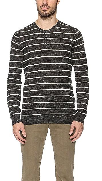 Vince Jaspe Striped Henley Sweater