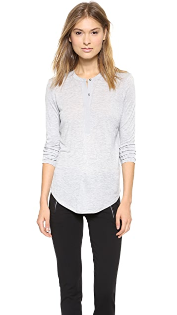 Vince Contrast Placket Long Sleeve Henley