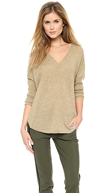 Vince Front Seam V Cashmere Sweater