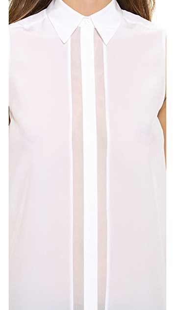 Vince Sleeveless Button Up Top