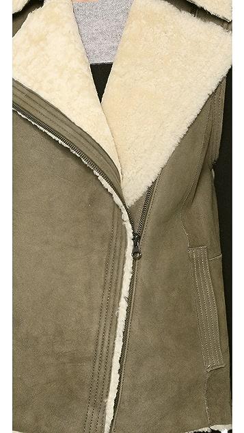 Vince Asymmetric Shearling Vest