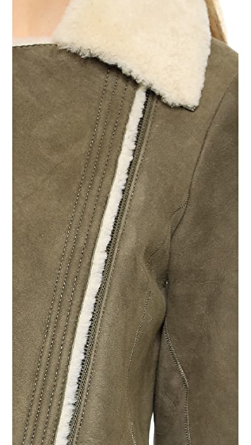 Vince Asymmetrical Shearling Jacket