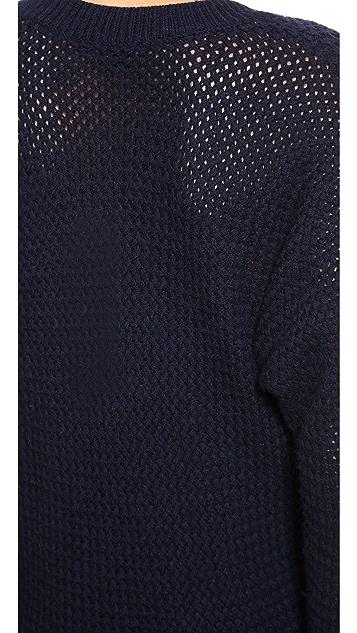 Vince Mesh Stitch Vee Dolman Sweater