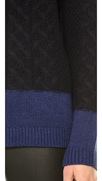 Vince Colorblock Cable Crew Pullover