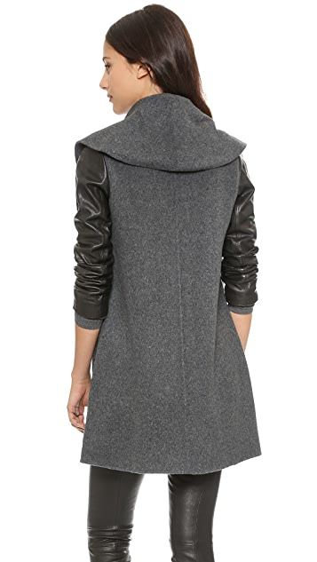 Vince Leather Sleeve Shawl Collar Coat
