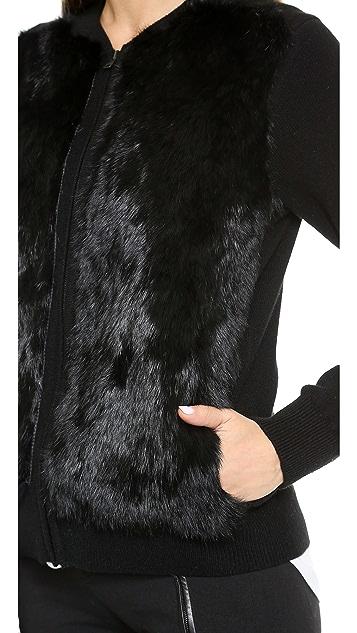 Vince Cardigan Sweater with Fur Trim