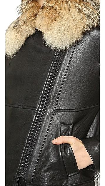 Vince Fur Collar Leather Jacket