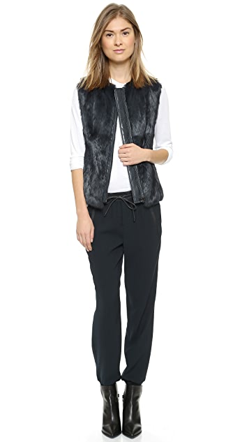 Vince Quilted Leather & Fur Vest