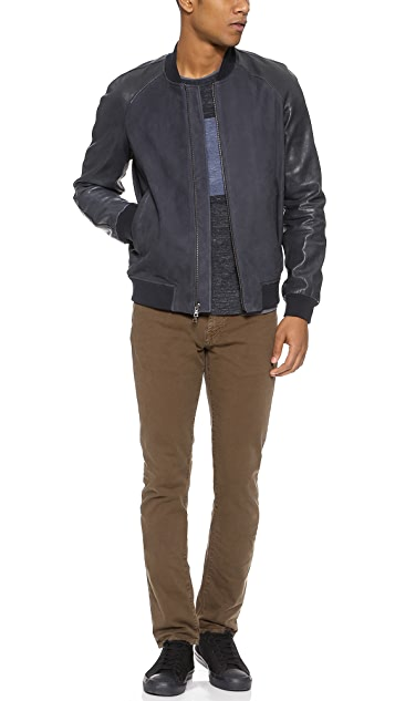 Vince Leather and Suede Baseball Jacket