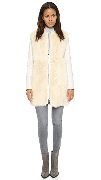 Vince Leather & Shearling Coat