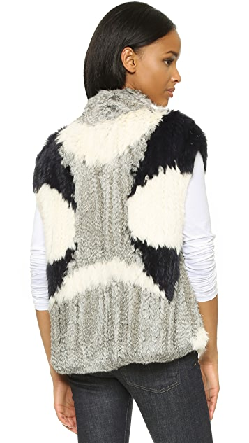 Vince Colorblock Fur Vest