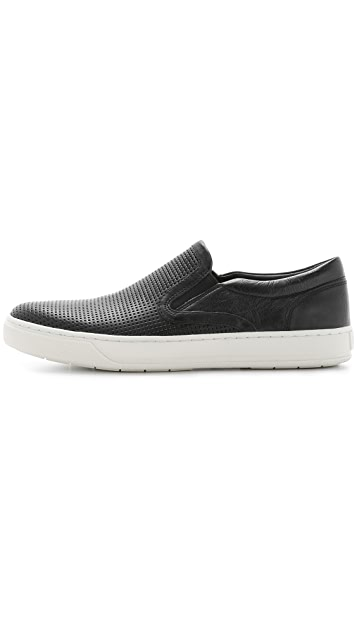 Vince Ace Perforated Leather Slip On Sneakers