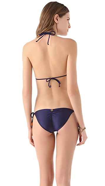 ViX Swimwear Solid Navy Triangle Bikini Top