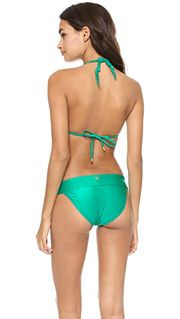 ViX Swimwear Solid Green Bikini Top
