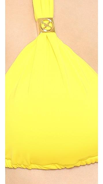 ViX Swimwear Solid Yellow Bikini Top