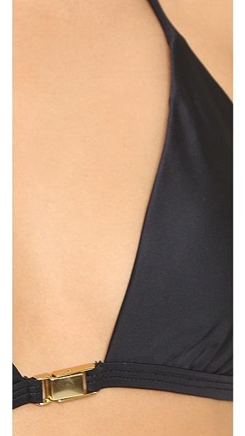 ViX Swimwear Solid Black T Back Bikini Top