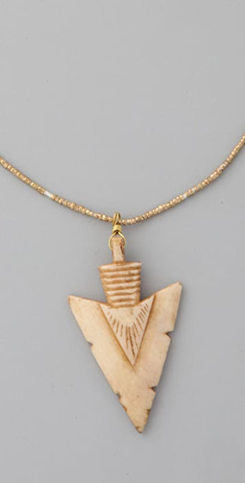 Vanessa Mooney Bone Arrowhead Pendant Necklace