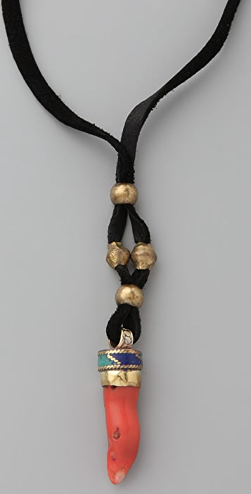 Vanessa Mooney Ayasha Coral Tooth Leather Necklace