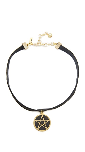 Vanessa Mooney Black Leather Choker with Large Pentagram