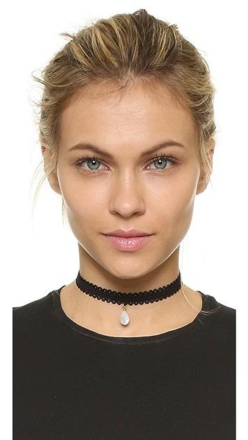 Vanessa Mooney Black Lace Choker with Teardrop
